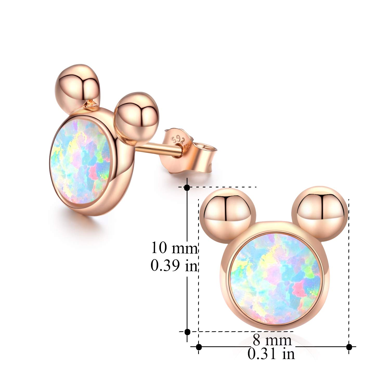 Mouse Earrings Opal Earrings for Adult Mouse Jewelry Sterling Silver Mouse Stud Gifts for Women Girls