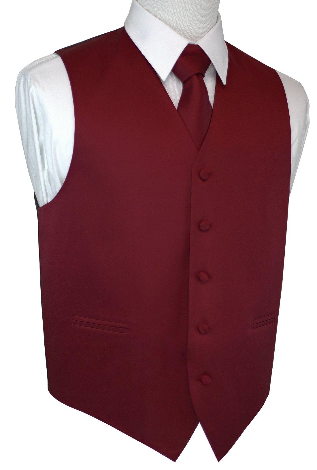 Brand Q Men's Formal Prom Wedding Tuxedo Vest, Tie & Pocket Square Set-Burgundy-3XL