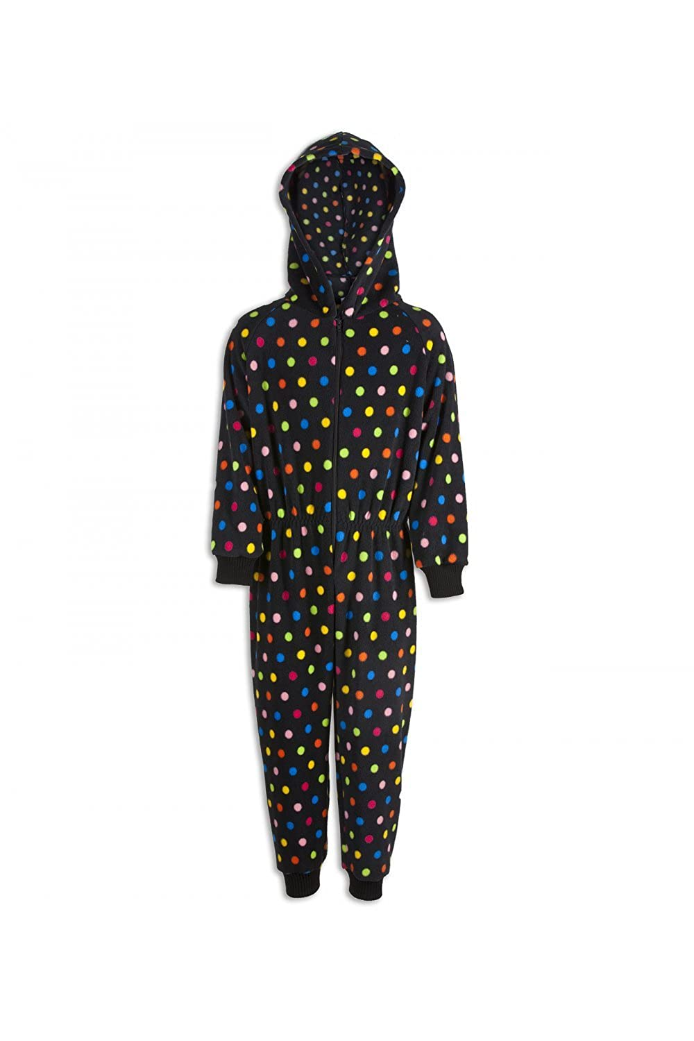 Camille Childrens Unisex Multicoloured Polka Dot Hooded Black Onesie