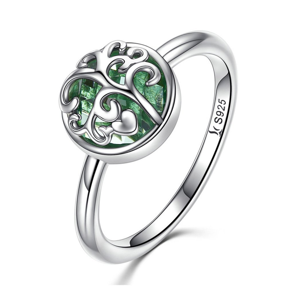MASCOTKING 925 Sterling Silver Ring Tree of Life Finger Rings for Women Jewelry Gift (Green, 6)