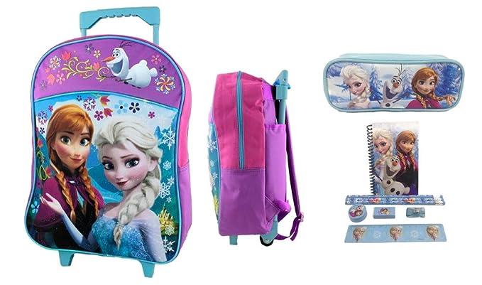 Amazon.com | Disney Frozen Rolling School Backpack with Pencil ...
