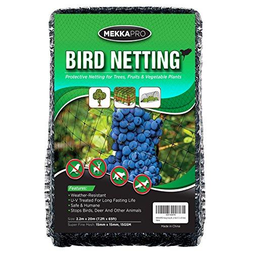 MEKKAPRO Heavy Duty Bird Netting, Garden Nets for Fruit, Vegetable, Plant Trees | Deer Netting and Fencing | Anti-Bird, Deer and Pests Net (7.2 x 65 ()