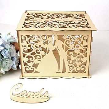 Zehui Trade Diy Wedding Card Box With Lock Wood Money Box Gift Card Holder With Bridegroom And Bride Figure Pattern For Weddings Party Decorations