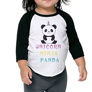 Amazon.com: KHAZ88z Unicorn Ninja Panda Kid 3/4 Raglan T ...