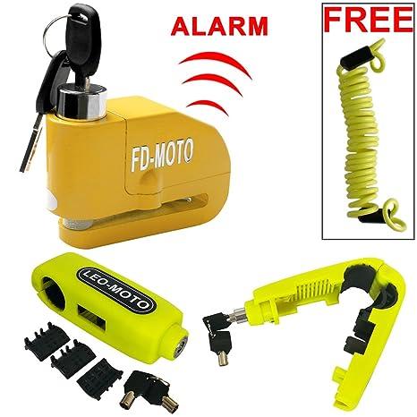 FD-MOT Candado de Disco con Alarma 110DB Dispositivos Antirrobo para Motos Bicicletas con Candado