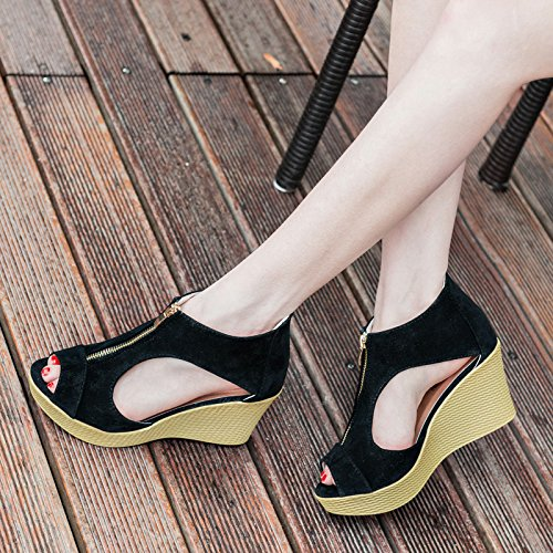 Front Bottom Slope Fashionable Skid Sandals Women'S High Summer Sandals Thick Heel Comfort Lightweight color Apricot Students Student For With WHLShoes 0vqw7Fz0