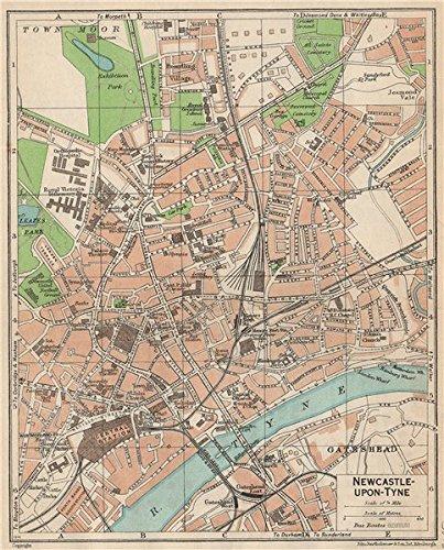 Newcastle Upon Tyne Vintage Town City Map Plan Northumberland 1950
