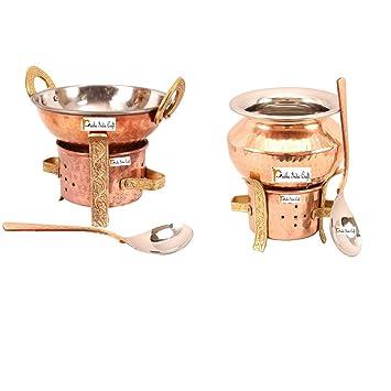 Artesanía India Prisha ® Set de 2 de cobre sigri con uno kadhai ...