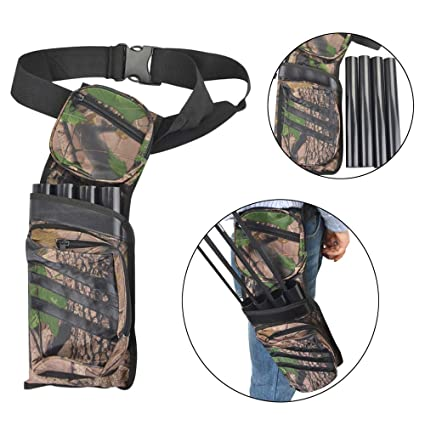 SHARROW Flecha Carcaj 4 Tubos Bolsa de Flecha Titular Quiver Cadera Cintura Colgada Camuflaje para la