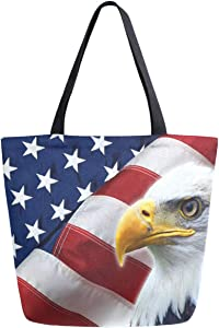 ZzWwR 3d Stylish Vulture American Flag Extra Large Canvas Market Beach Travel Reusable Grocery Shopping Tote Bag Portable Storage HandBags