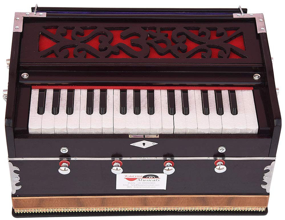 OM Harmonium Mini Magic By Kaayna Musicals, 4 Stop- 2 Main & 2 Drone, 2¾ Octave, Dark Cherry Colour, Gig Bag, Bass/Male- 440 Hz, Best for Yoga, Bhajan, Kirtan, Shruti, Mantra, Meditation, Chant, etc. by Kaayna Musicals (Image #9)