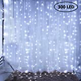 Gluckluz Window Curtain String lights 300 LED Fairy Light Twinkle Starry Lighting Decoration Lamp for Indoor Outdoor Wedding Home Bedroom Wall Party (White)