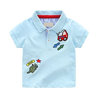 900c72e42 Tortor 1Bacha Baby Toddler Little Boys Shorts Sleeve Polo Shirts Uniform T- Shirts Newborn Blue