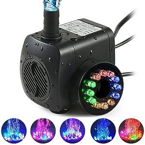 TGJ - Bomba de Agua Sumergible de 15 W con 12 Luces LED, Filtro de Bombeo, Bomba de Acuario, Bomba de Acuario, rockero, Cultivo, Pond Garden, Piscina, EU Plug