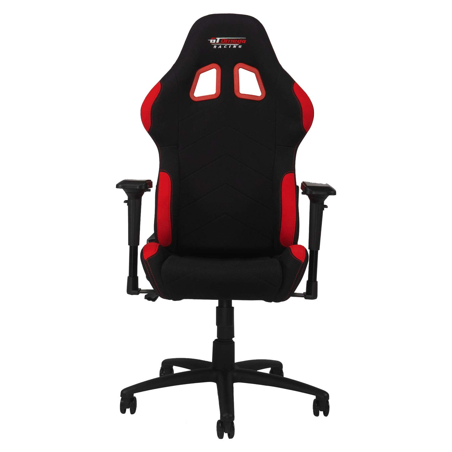 GT Omega PRO Racing Fabric Gaming Chair with Lumbar Support – Breathable Ergonomic Office Chair with 4D Adjustable Armrest Recliner – Esport Seat for Ultimate Gaming Experience – Black Next Red