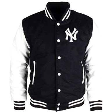 JH Design Original Mens New York Yankees Hooded Reversible Varsity Jacket (4XL, Black/
