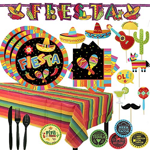 Fiesta Summer Party Supplies Pack For 16 Guests for Cinco De Mayo, Taco Tuesday, Fiesta, etc. With Plates, Cups, Napkins, Tablecover, Photo Booth Props, Coasters, Cutlery, Banner and Exclusive Pin