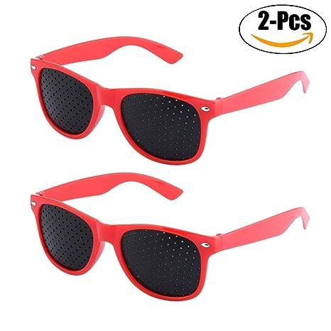 Fansport 2 Coppie Occhiali Con Foro Piccolo Occhiali Per La Correzione Della Vista Visione Protezione Visione Migliorare Occhiali da Vista V4V9X