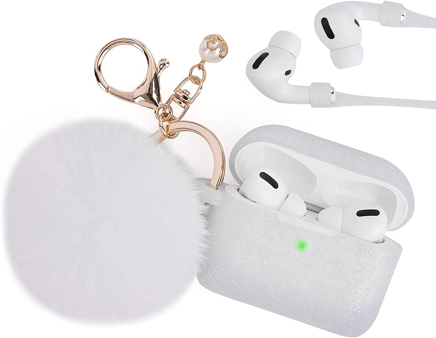 Case for Airpods Pro, Filoto Airpod Pro Case Cover for Apple AirPods Pro Wireless Charging Case, Cute Air Pods 3 Case Silicone Protective Accessories Keychain/Pompom (Silver White 1)