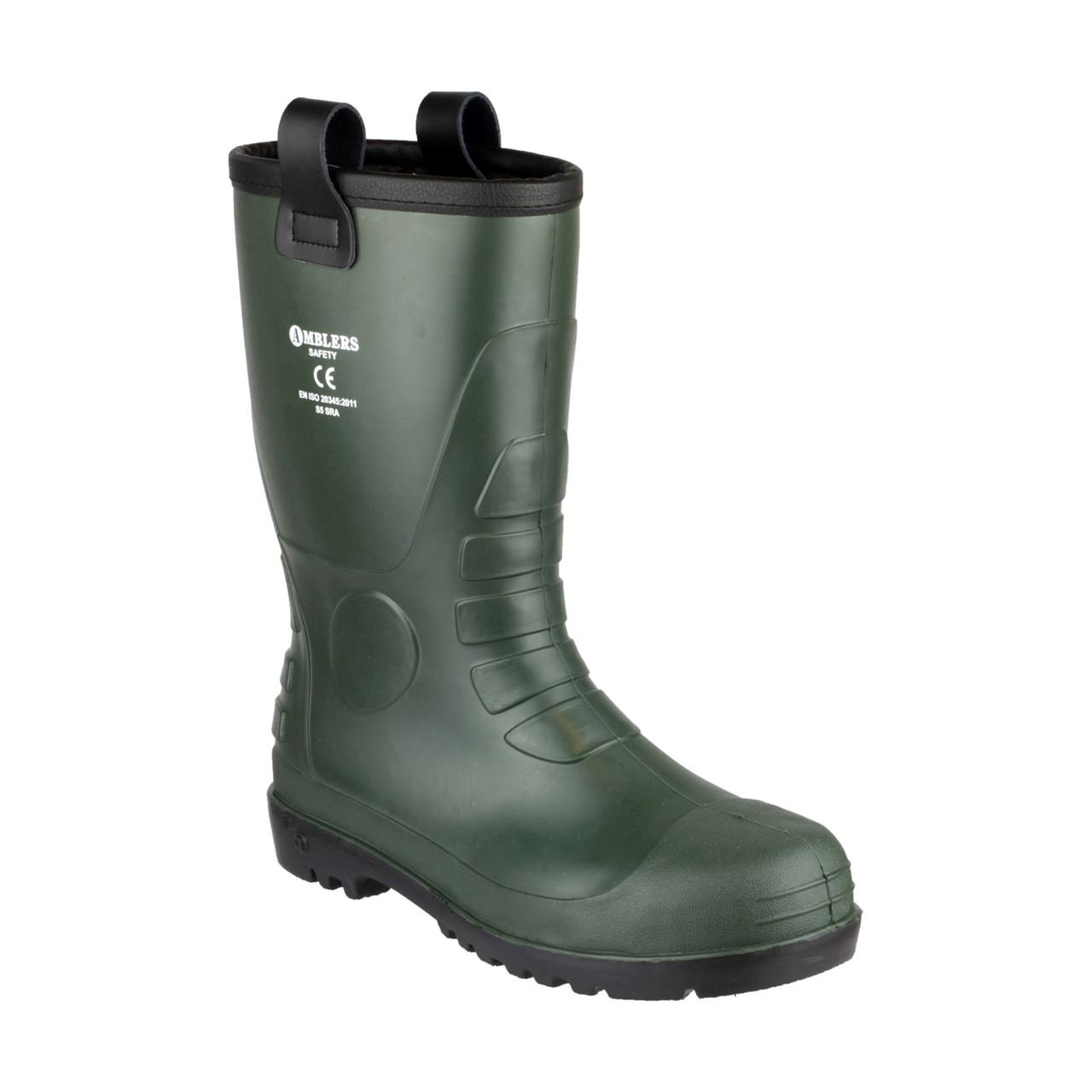 Amblers Safety FS97 Mens Steel S5 Rigger Safety Wellingtons Green