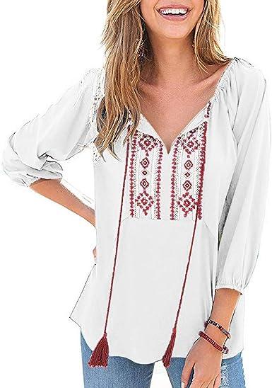 LANSKRT Blusas para Mujer Talla Grande Camisetas Corbata con ...