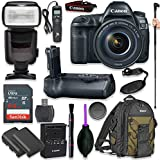 Canon EOS 5D Mark IV Full Frame Digital SLR Camera with EF 24-105mm f/4L IS II USM Lens with Pro Camera Battery Grip, Professional TTL Flash, Deluxe Backpack 200EG, Spare LP-E6 Battery (17 items)