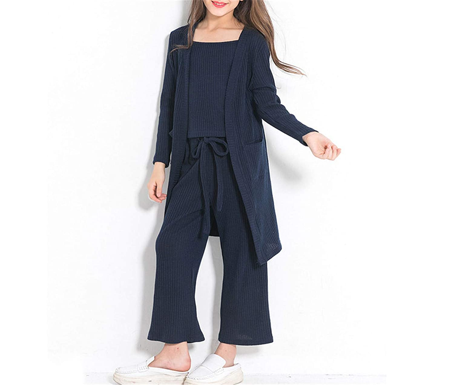 Teenage Girls 3Pcs Children Clothing Set Outfit Long Sleeve Coat Tops Pants