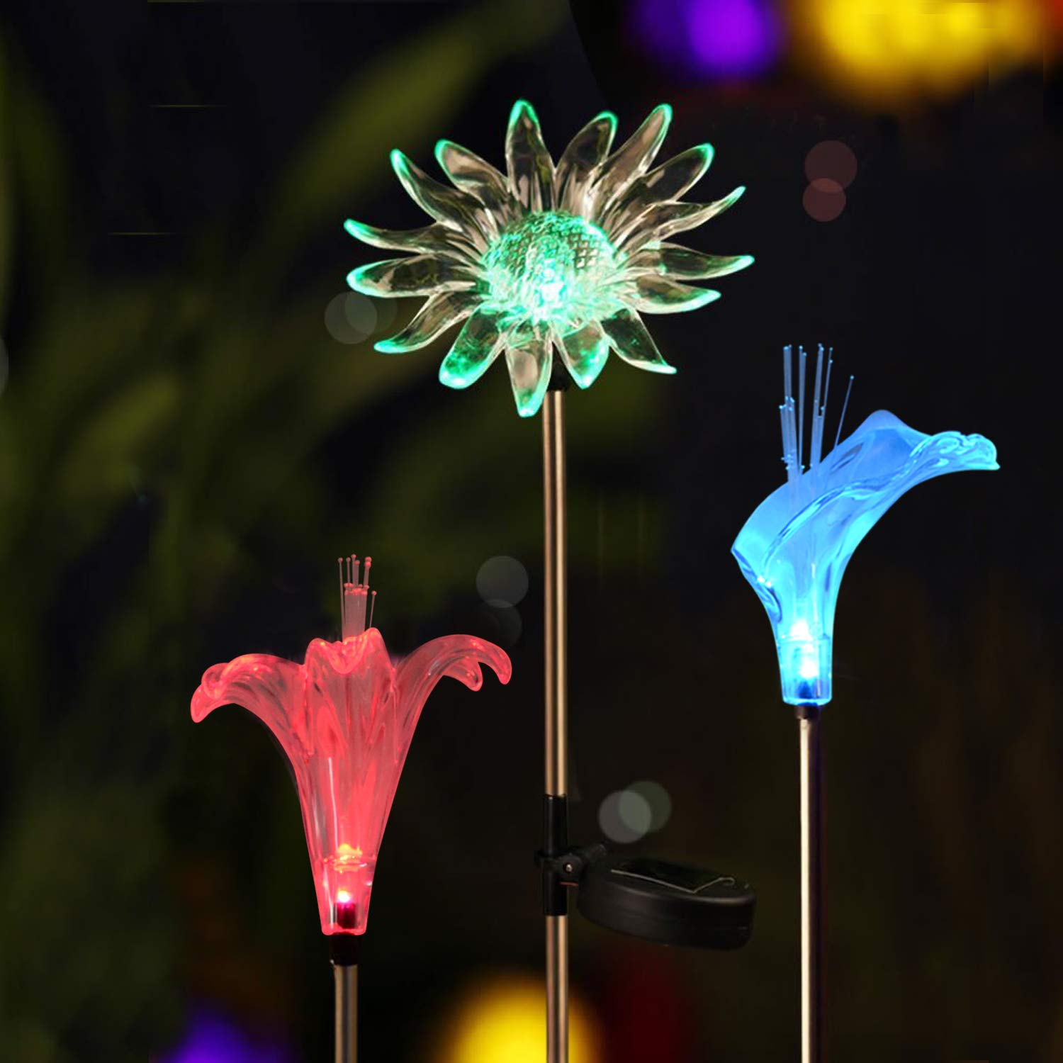Solar Garden Decoration Lights - Voona 3-Pack Solar Color Changing LED Stake Lights Clear Fiber Lily, Fiber Calla Lily, Daisy Mixed for Outdoor Pathway Party Holiday Christmas JJBH0043