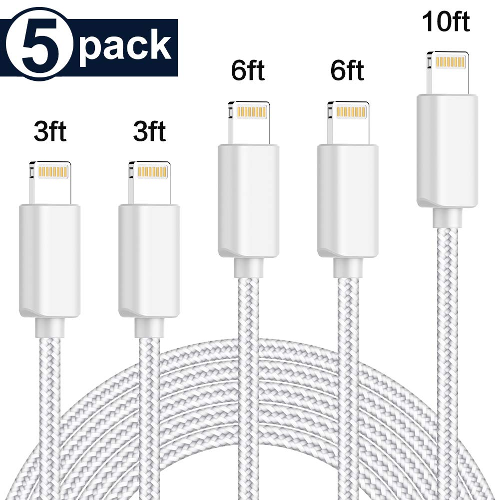 TNSO MFi Certified iPhone Charger Lightning Cable 5 Pack [3/3/6/6/10FT] Extra Long Nylon Braided USB Charging & Syncing Cord Compatible iPhone Xs/Max/XR/X/8/8Plus/7/7Plus/6S/6S Plus/SE/iPad/Nan More