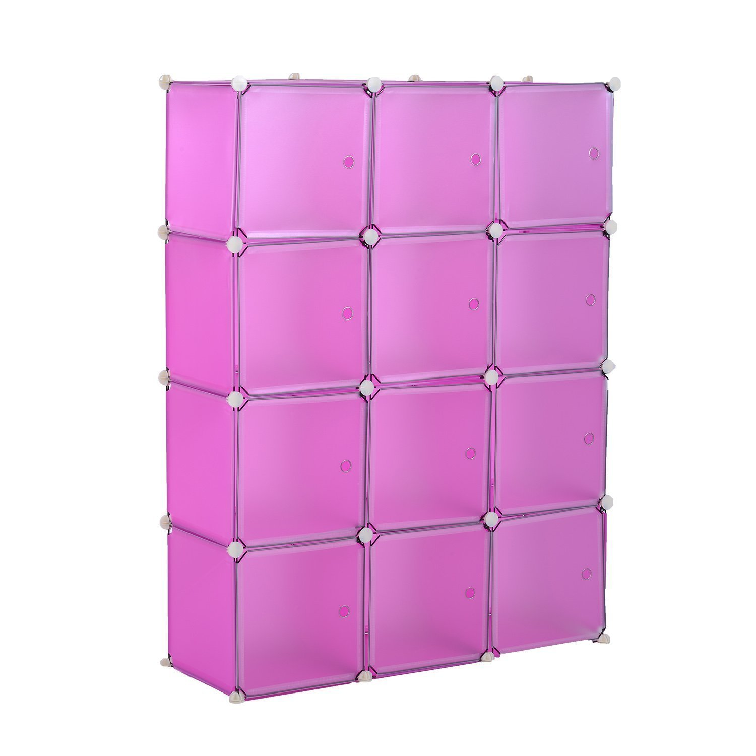 Adjustable Plastic Cube Storage Bookcase Pink Easy Organizer With Ebook