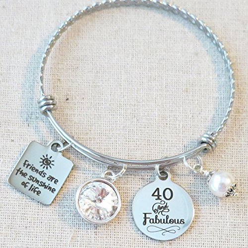 40th APRIL BIRTHDAY Gift for Her, Milestone April Birthday Gifts for Friend, 40 and Fabulous Bangle Bracelet, Friends are the Sunshine of Life Bracelet, April Crystal Birthstone Birthday Gifts