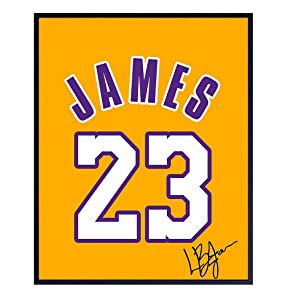 LeBron James Jersey Photo Wall Art Decor Poster - 8x10 LA Lakers #23 Decoration - Unique Gift for Basketball, Sports Fan, Men, Boys, Teens - Affordable Art for Home, Bedroom, Living Room, Bar UNFRAMED