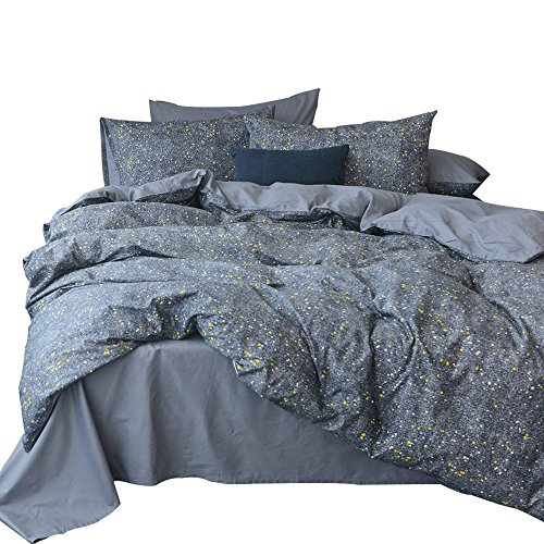 3 Piece Cotton Duvet Cover Set Queen Star Universe Print Full Bedding Set Reversible Hotel Duvet Comforter Cover Set Modern Soft Luxury Bedding Collection 1 Duvet Cover with 2 Pillowcases by LifeTB