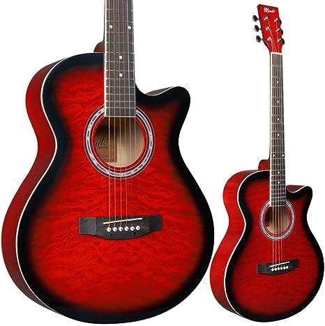 Lindo - Guitarra acústica y paquete de accesorios (color rojo rubí ...