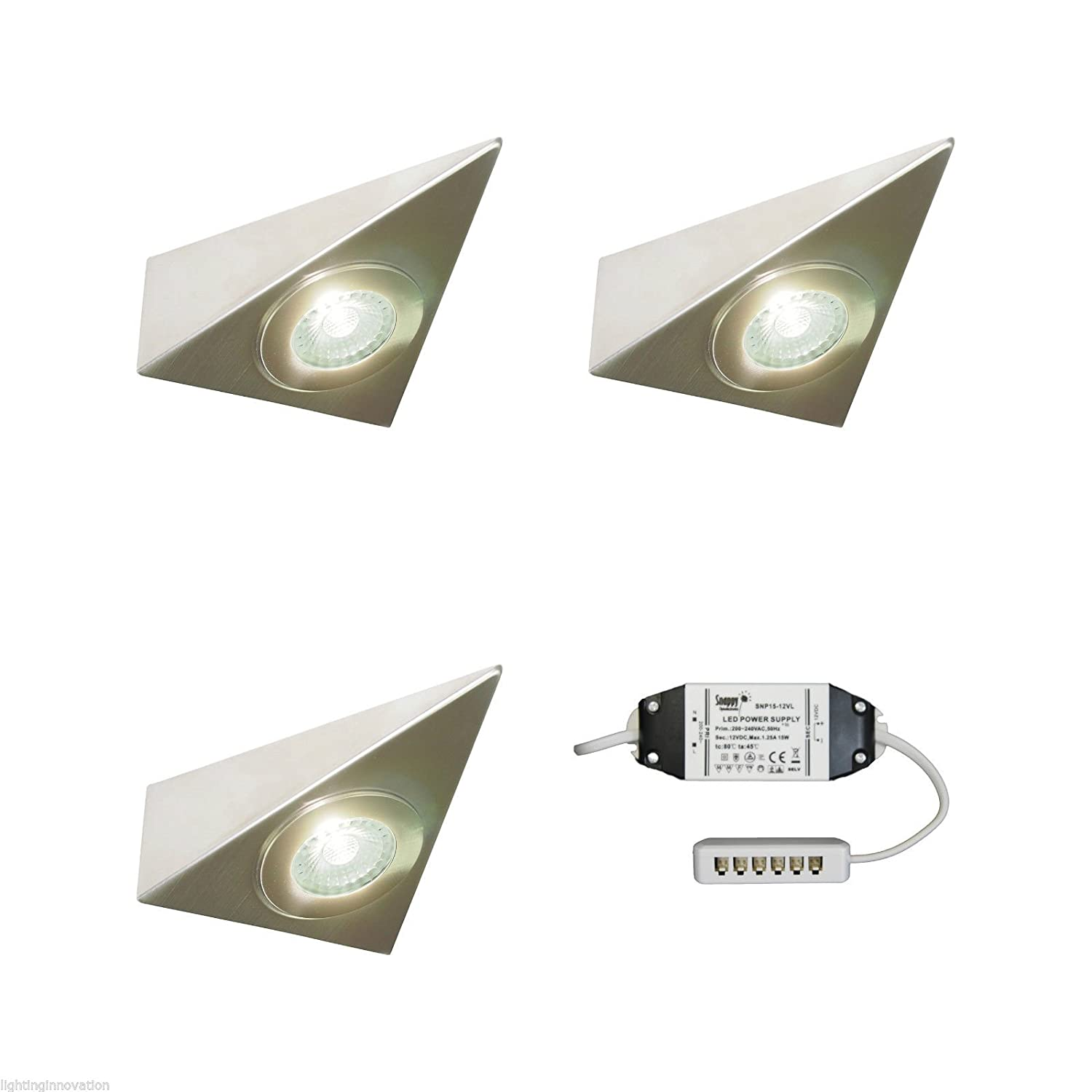 3 X KITCHEN UNDER CABINET CUPBOARD LED TRIANGLE LIGHT KIT POLARIS - VERY BRIGHT Lighting Innovations