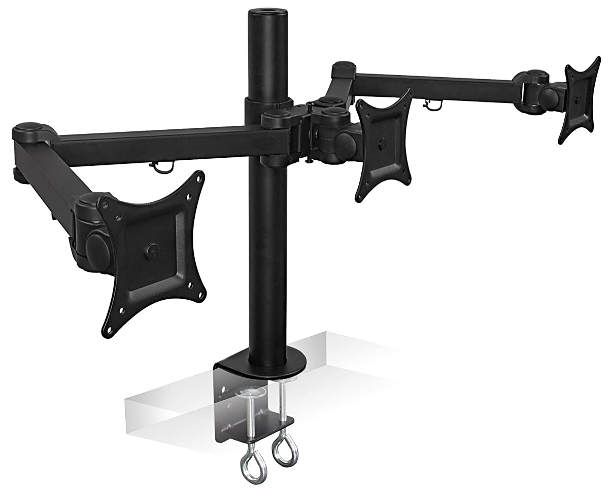 Mount-It! MI-753 Triple Screen LCD Computer Monitor Desk Mount Stand Arm for 19, 20, 22, 23, 24 Inch Monitors VESA 75 and 100 Compatible Full Motion, Tilt, Swivel, Rotate, 66 lbs Capacity, Black