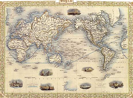 Amazoncom S WORLD MERCATORS PROJECTION MAP VINTAGE POSTER - Small world map poster