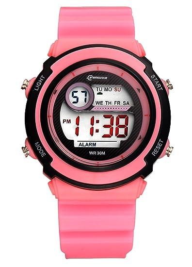 MINGRUI Nuevo Reloj Digital Deportivo con Alarma Cronométro Calentario Luz Nocturna Waterproof Watch para Niño Niña de Moda - Rosa: Amazon.es: Relojes