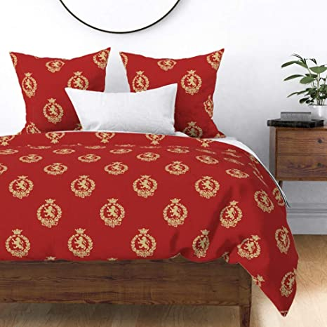 Amazon.com: Roostery Duvet Cover, Damask Royal Crown Brocade Lion Victorian  Print, 100% Cotton Sateen Duvet Cover, Twin: Home & Kitchen