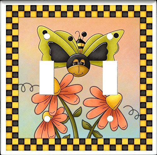 Bee Switchplate (BUTTER BEES Design #2 Double Toggle Switch Electrical Wall Plate)