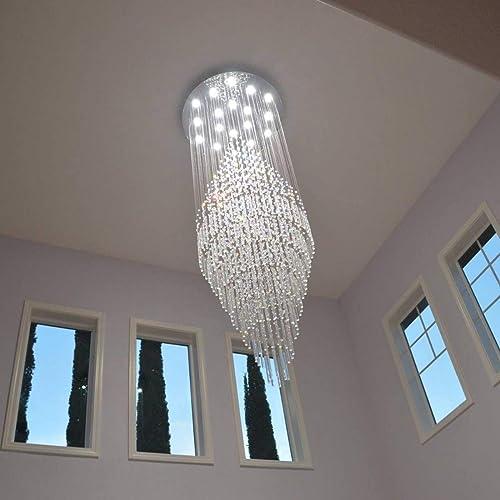 7PM Luxury Crystal Chandelier Modern Round Raindrop Ceiling Light Fixture Flush Mount