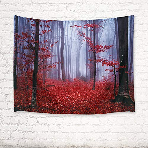 LB Nature Tapestry Wall Hanging Enchanted Autumn Forest in Foggy with Maple Leaf Misty Fall Scenery, 3D Tapestry for Bedroom Living Room Dorm Home Decor, 60 x 40 Inches by LB (Image #2)