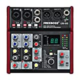 Freeboss UM-66 4 Channels 16 Digital Effects 24 Bit Dsp Processor Sound Card (Hall Room Plate Delay Echo) Record Audio Mixer