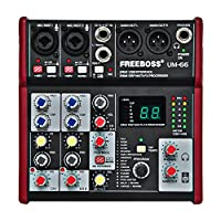 Freeboss UM-66 4 Channels 16 Digital Effects 24 Bit Dsp Processor Sound Card (Hall Room Plate Delay Echo) Record Audio Mixer