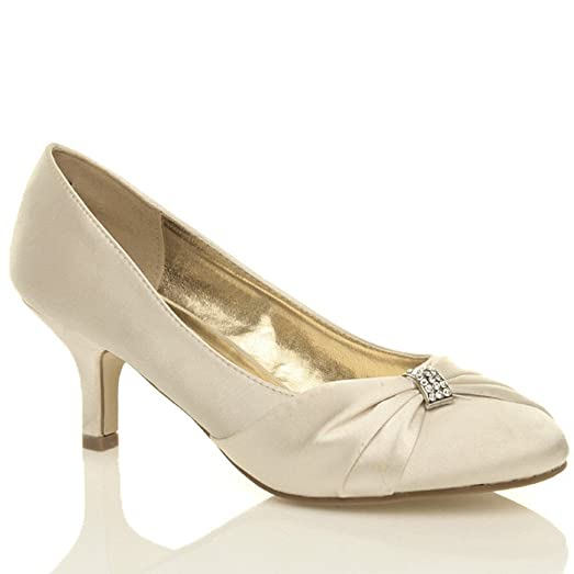 Womens wedding bridal ladies prom shoes low heel bridesmaid ...