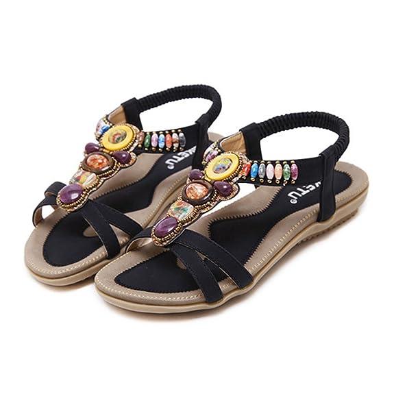 Damenschuhe Böhmen Sandalen Wohnungen Strand Schuhe Freizeit Sandalen Flip Flop Sommerschuhe Schwarz 41 EU glfPXEg