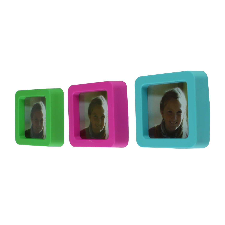 3er Set Kühlschrank-Magnet Pinnwand-Magnet Bilderrahmen bunt ...