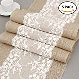 BullStar 12'' x 108'' Burlap Table Runner with Lace Natural Jute Hessian able Runners for Wedding Party Bridal Shower Babe Shower Dining Table Decoration (B, 5pack)