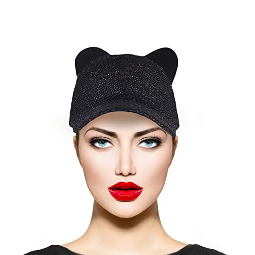 Amazon.com  Lux Accessories Black Sequin Cat Ear Baseball Cap Dat Hat  Trendy Hat for Girls  Clothing 0d81e383ad82