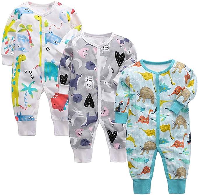 3 Piezas Bebé Mono Mameluco de Manga Larga Niños Niñas Body Peleles Pijama Regalo de Recien Nacido: Amazon.es: Ropa y accesorios